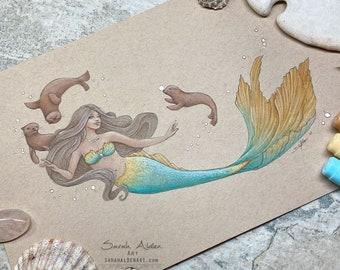 Mermaid Art Print, Seal Art, Mermaid Painting, Sea Lion Art, Mermaid Decor, Ocean Print, Seal Animal Art, Nursery Art, Little Mermaid Print