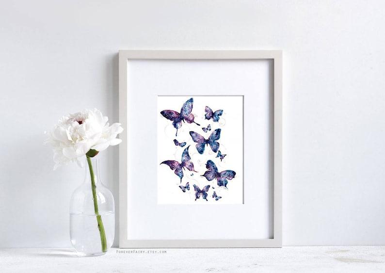 83bee66499f Purple Butterfly Art Watercolor Butterfly Painting. Wall