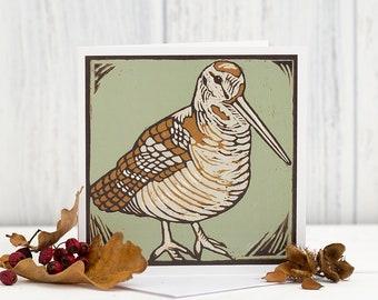 Woodcock Greetings Card - Bird Art - Linocut card - Game Bird - Woodland Bird - Birthday Thank You Notecard -