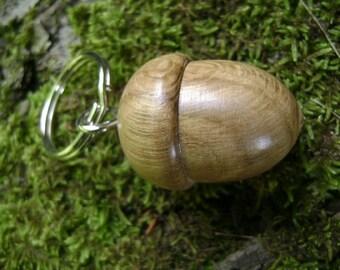 Wooden acorn keyring