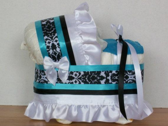 BEAUTIFUL BABY BLUE WHITE BOY  DIAPER BASSINET BABY SHOWER WASHCLOTH CENTERPIECE