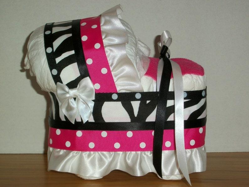 BEAUTIFUL PINK BLACK ZEBRA GIRL DIAPER BASSINET CARRIAGE BABY SHOWER CENTERPIECE