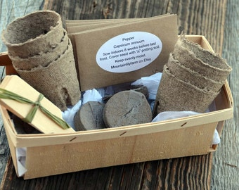Vegetable Garden Gift Set, Heirloom Vegetable Seeds, Non GMO Seeds, Seed Starting Supplies and Growing Instructions in Gift Basket