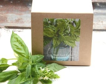 Sweet Basil Seed Kit, Indoor Herb Seed Kit, DIY Plant Kit, Grow Organic Basil, Great for Container Garden, Hostess Gift or Housewarming Gift