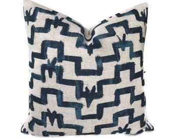 Zak and Fox Pillow Cover in Tulu, Indigo Blue, Geometric Designs, Designer Pillow, Decorative Throw Pillow Cover, Bohemian Pillow, Navy Blue