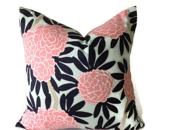 Navy And Pink Decorative Pillows: Caitlin Wilson Navy Fleur Chinoise Pillow Cover In Blue
