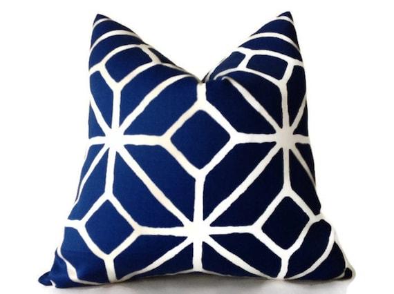 Trina Turk Marine Blue Trellis Indoor Outdoor Blue Pillow Etsy