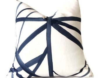 Kelly Wearstler Channels Pillow Cover, Blue Pillow, Decorative Pillow Cover, Designer Pillow, Housewares, Home Decor, Home and Living