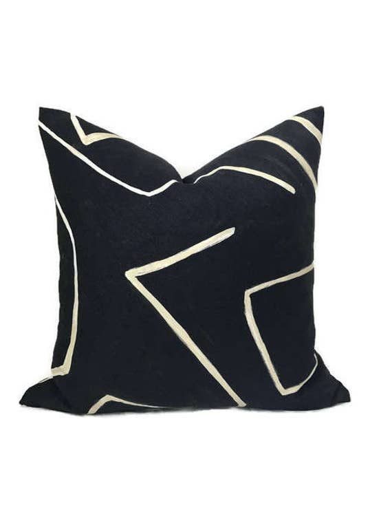 Kelly Wearstler Graffito Pillow Cover In Onyx Beige Etsy Stunning Black And Beige Decorative Pillows