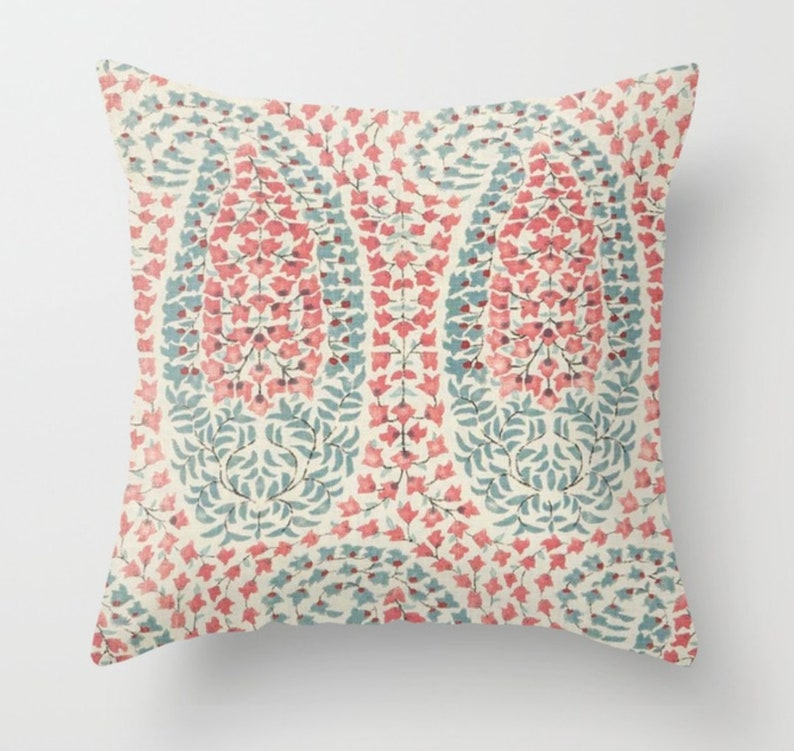 Lisa Fine Lahore Pillow Cover in Calico Pink and Blue, Throw Pillow, Sofa  Pillow, Decorative Pillow Cover, Home Decor