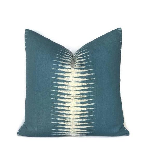 Peter Dunham Ikat Pillow Cover In Peacock Decorative Throw   Etsy