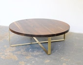 Walnut Coffee Table, Brass Base, Round Top, Black Walnut, Free Shipping