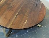 "36"" Solid Walnut Table w/Brass Base"
