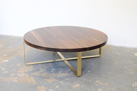 Walnut Coffee Table Brass Base Round Top Black Walnut Free Etsy
