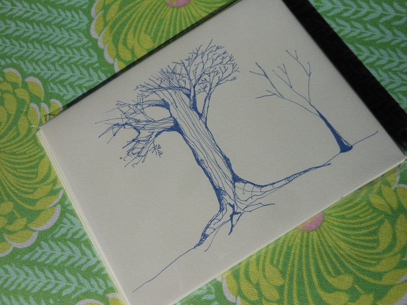 Assorted Tree Sketch Note Cards Set of 5
