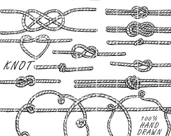 15 Knotted Rope Doodle Hand Drawn Vector, Tied the Knot Digital Clipart Vectors, Individual PNG elements, Sketched by Nedti