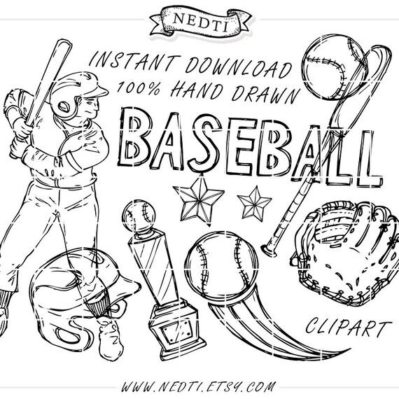 Garabatos de béisbol vectores de vectores incompletos | Etsy