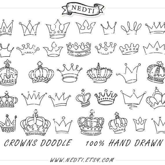 Dibujo de coronas Doodle mano dibujado Vector príncipe de   Etsy