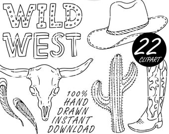 Clipart Cowboy Sketched by Nedti, Wild West Clip art, Cactus, Wanted, Black Lineart, Hand Drawn, Doodled, Invitations, Border, Stickers