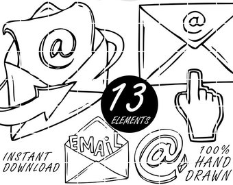 Email Icon Doodle Clip Art, Hand Drawn Clipart, PNG, Internet, Letter, Lineart, Downloadable, Email Symbol, Sketched, Doodled by Nedti