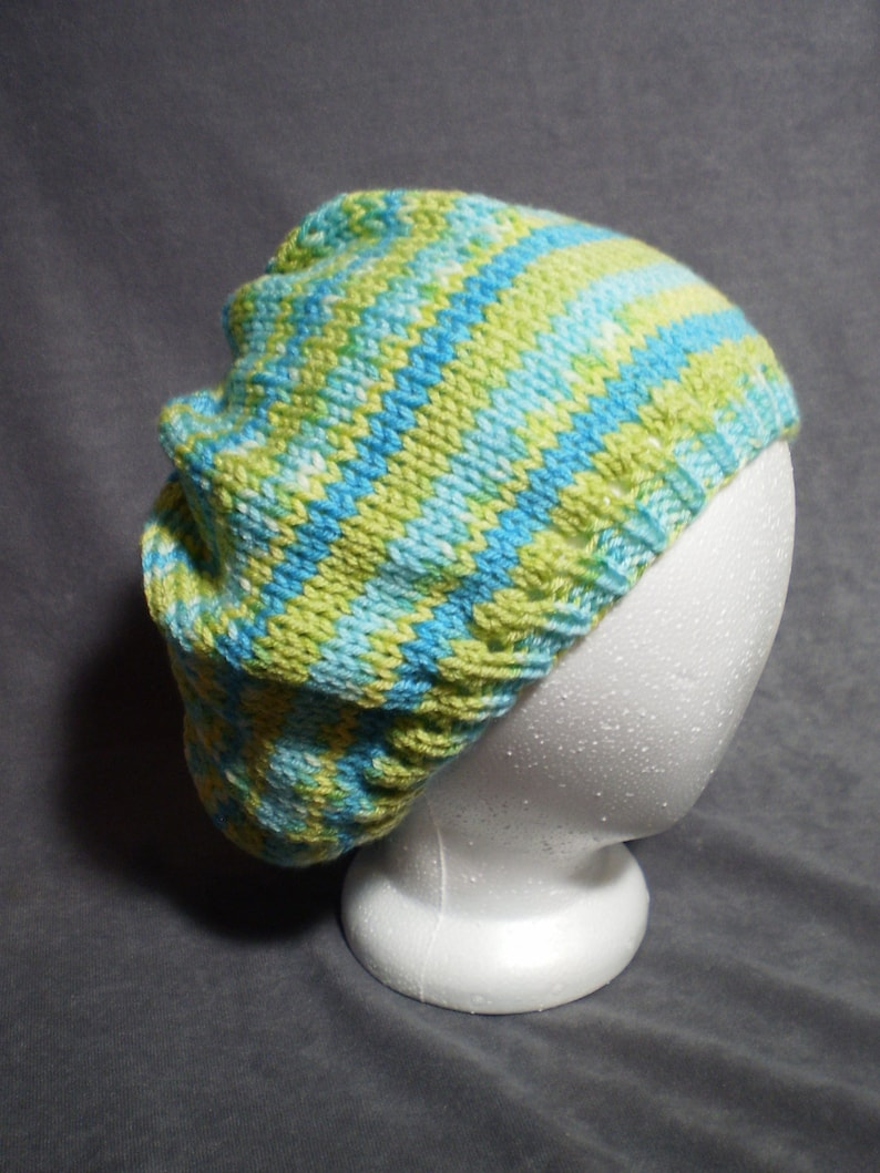 Light Green and Yellow Slouch Hat: Hand Knit Slouchy Hat image 0