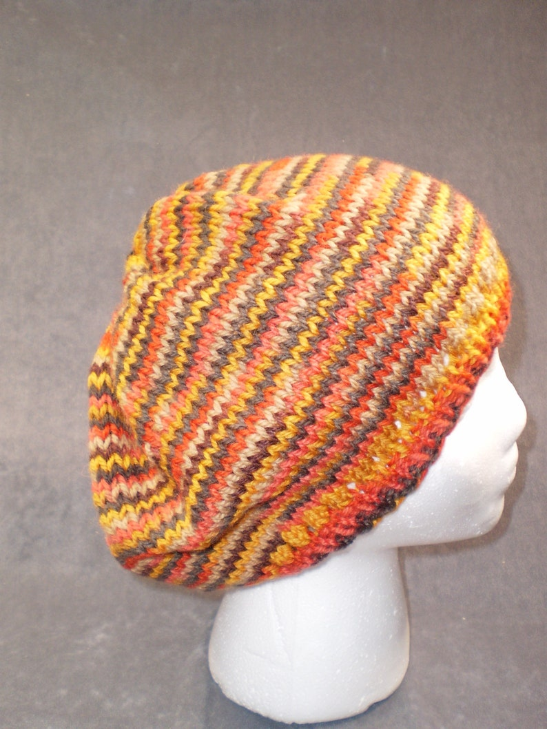 Orange Striped Slouch Hat: Hand Knit Wool Slouch Hat in image 0