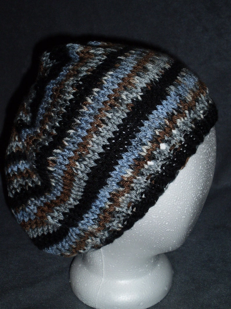 Striped Slouchy Hat: Women's Slouch Hat in Black Brown image 0