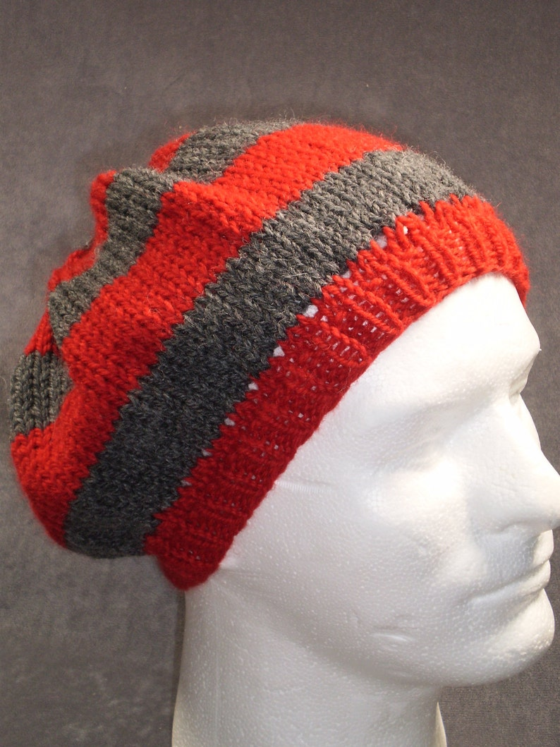 Red and Gray Striped Slouch Hat: Hand Knit Wool Hat image 0