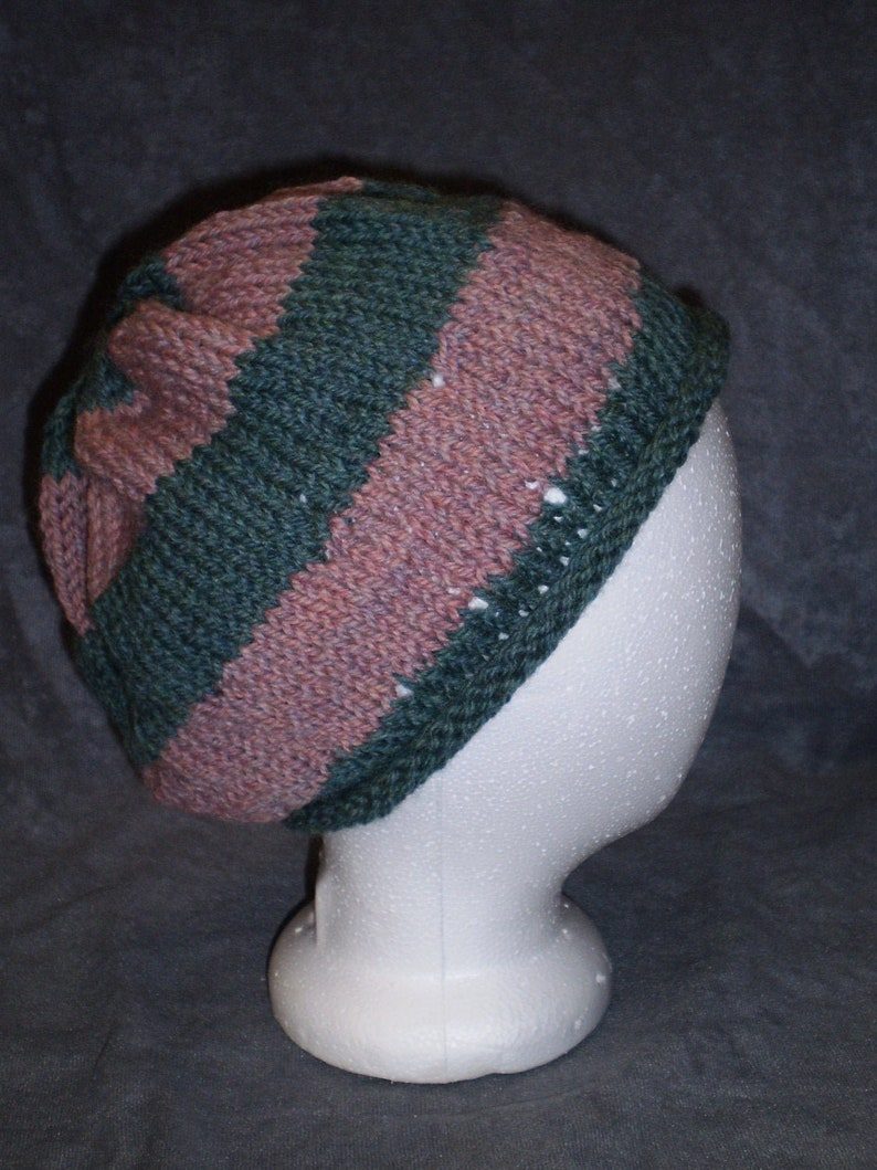 Pink & Blue Green Hat: Pink Striped Wool Knit Slouch Hat image 0