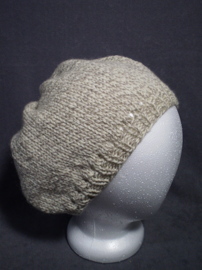Off White Wool Slouch Hat: Natural Color Hand Knit Wool Slouch image 0