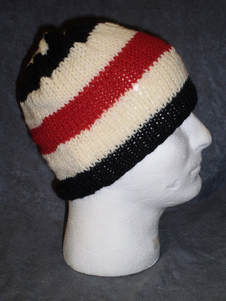Unisex Striped Hat: Wool Hat in Red Black and White image 0
