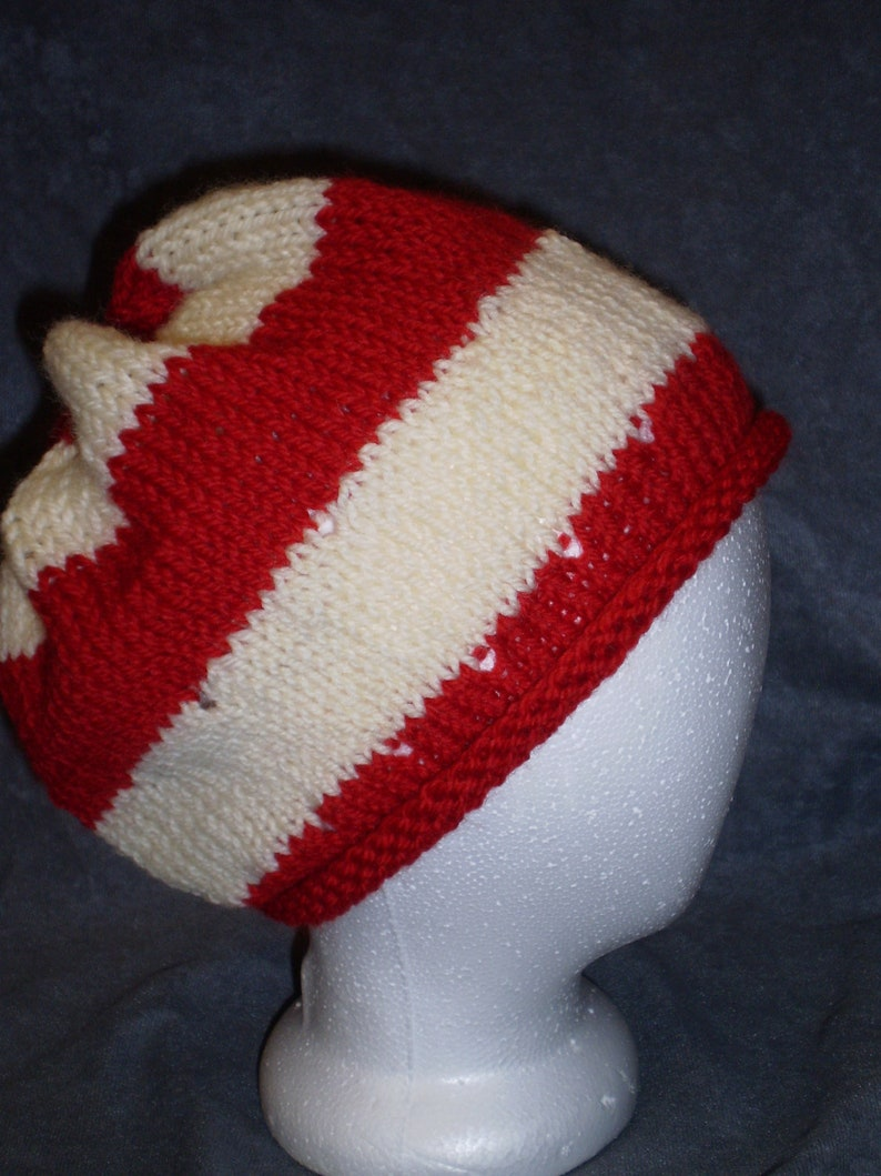 Red and WhiteHat: White and Red Roll Brim Wool Hat image 0