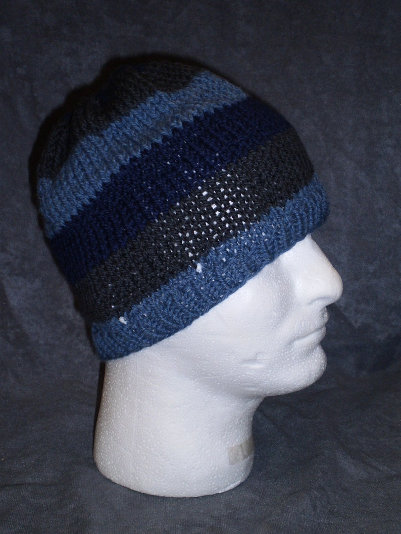 Blue Striped Hat: Unisex Striped Wool Hat in Shades of Blue image 0