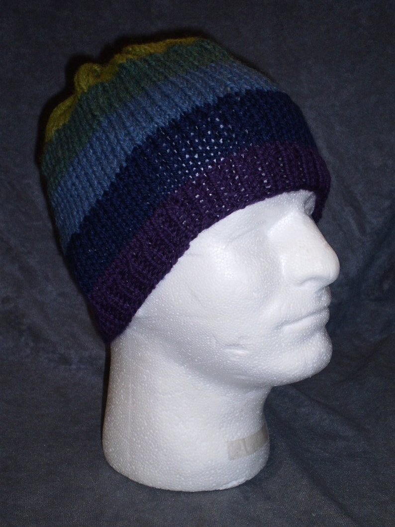 Blue and Green Striped Hat: Unisex Striped Wool Hat in Blues image 0