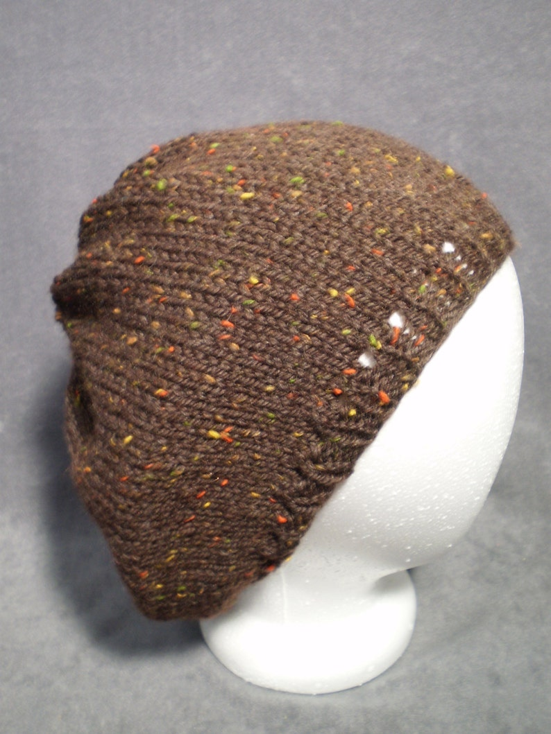 Brown Wool Slouch Hat: Knit Brown Slouchy Hat with Colorful image 0