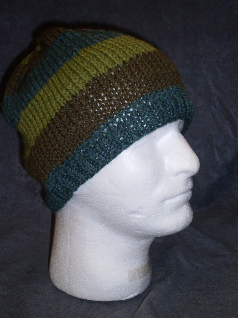 Green Striped Hat: Unisex Striped Wool Hat in Shades of Green image 0