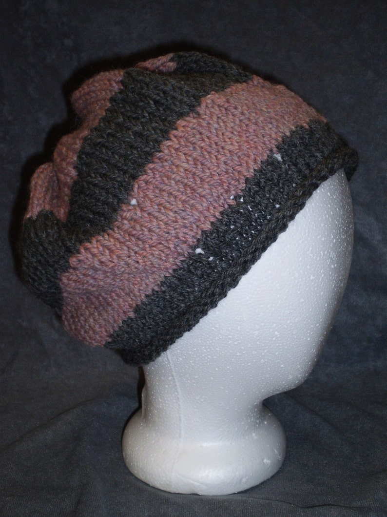 Pink & Grey Hat: Gray and Pink Striped Wool Knit Slouch Hat image 0