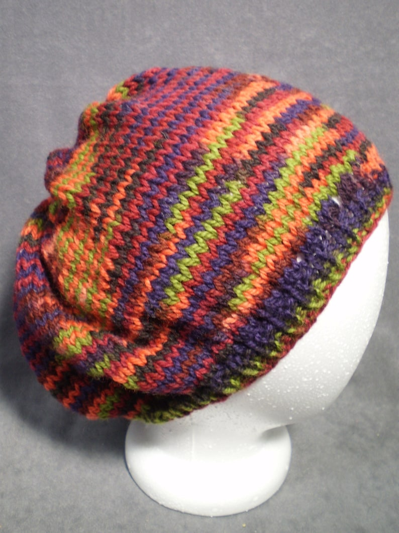 Multicolor Slouch Hat: Hand Knit Wool Slouch Hat in Orange image 0