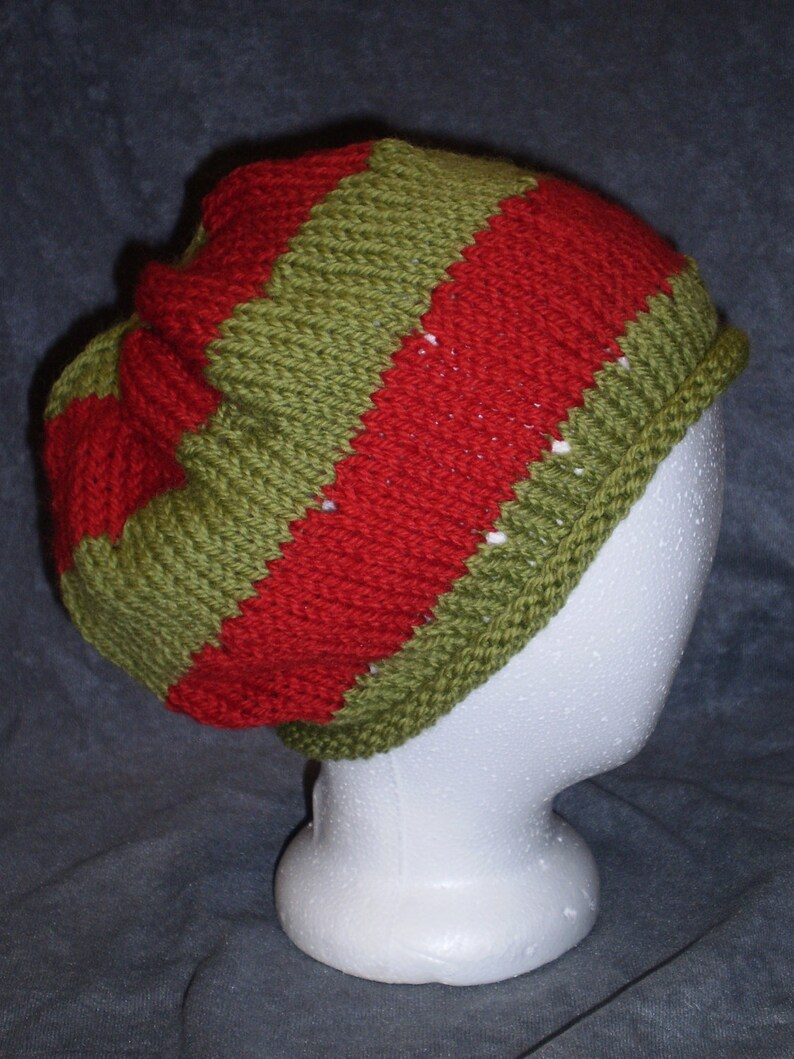 Red and Green Hat: Green and Red Roll Brim Wool Hat image 0