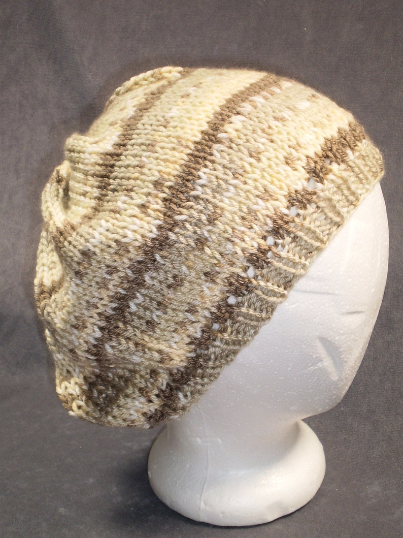 Knit Slouch Hat: Striped Slouchy Hat in Tans image 0