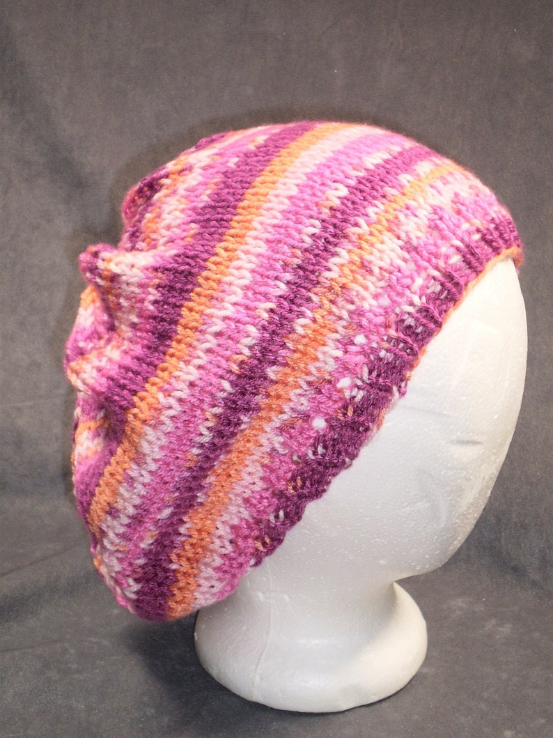 Pink Slouch Hat: Hand Knit Slouch Hat in Shades of Pink image 0