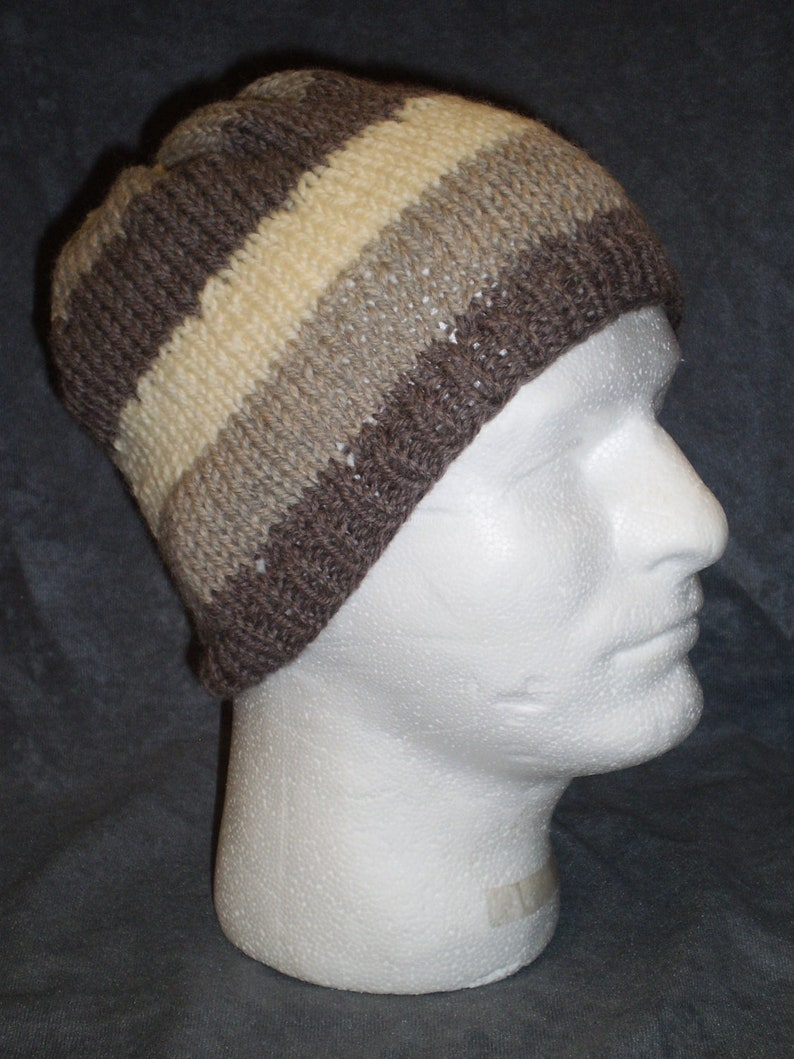 Tan Striped Hat: Unisex Striped Wool Hat in Tans and Off White image 0