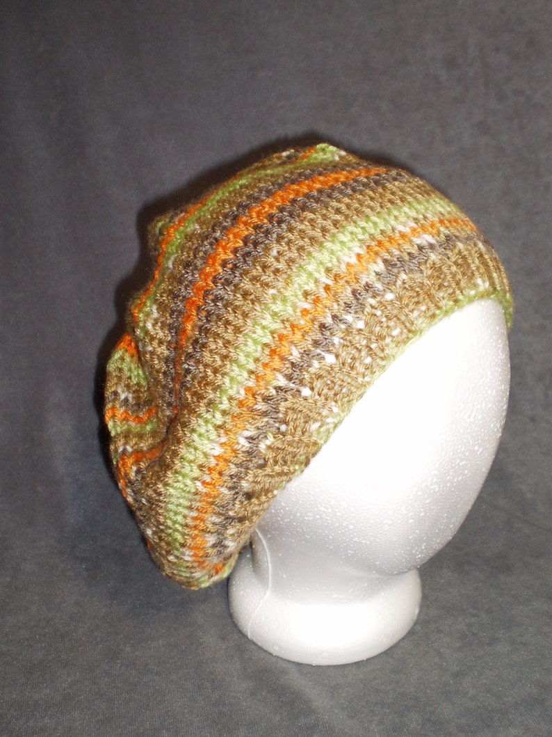 Knit Slouch Hat: Slouch Hat in Light Orange Light Green and image 0