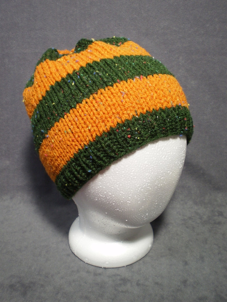 Mens Knit Hat: Striped Knit Hat in Green and Gold image 0