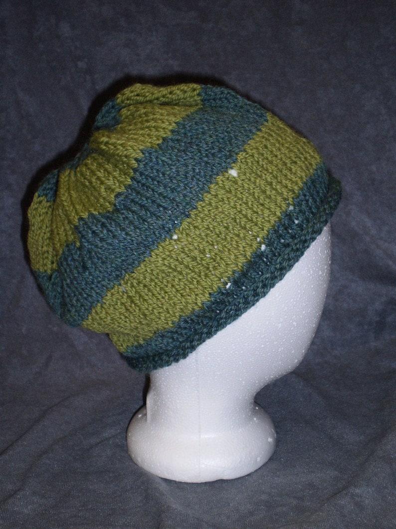 Green Striped Hat: Green Striped Roll Brim Wool Hat image 0