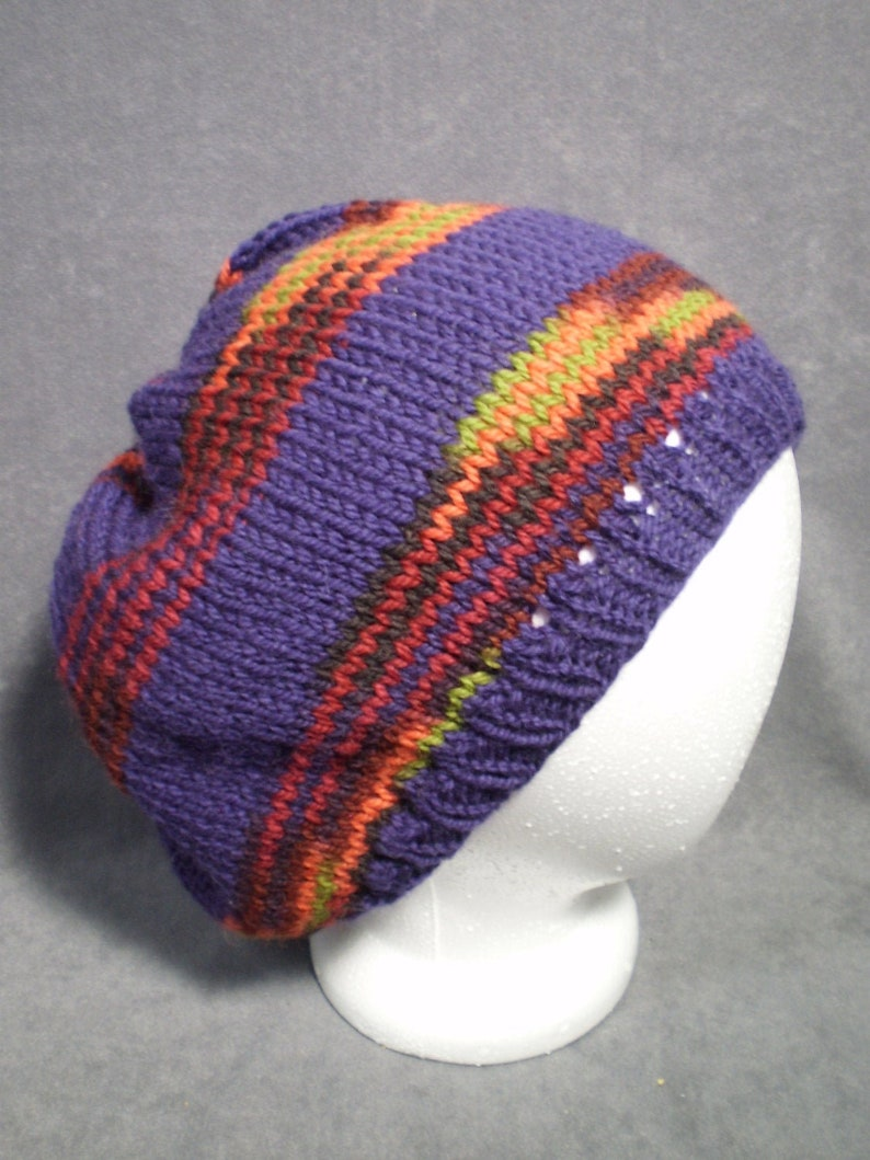 Striped Slouch Hat: Hand Knit Wool Slouch Hat in Purple and image 0