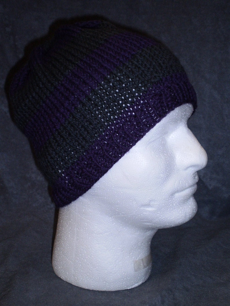 Wool Striped Hat: Unisex Striped Hat in Purple and Gray image 0