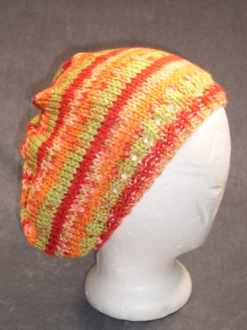 Multicolored Slouch Hat: Hand Knit Slouch Hat in Red Orange image 0