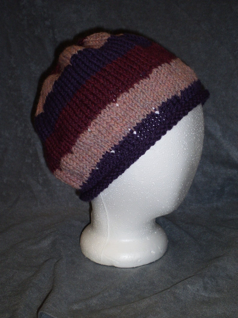 Striped Wool Hat: Burgundy Purple and Pink Roll Brim Wool Hat image 0