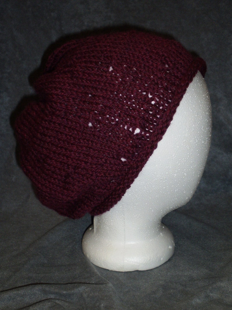 Burgundy Hat: Maroon Flecked Roll Brim Wool Knit Slouch Hat image 0
